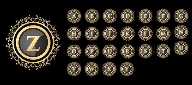 Monogramma disegnato a mano floreale femminile calligrafico dorato antico design logo di lusso in stile vintage adatto per hotel ristorante caffetteria caffetteria spa salone di bellezza boutique di lusso cosmetici e arredamento
