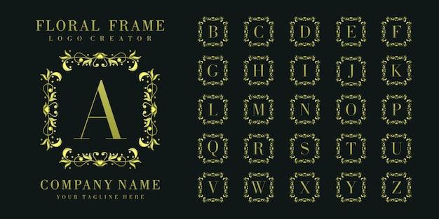 Monogramma logo iniziale con ornamenti floreali