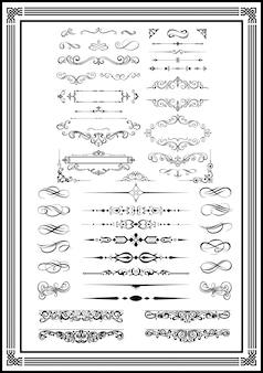 Monogrammi decorativi e bordi calligrafici di colore nero