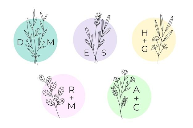 Monogrammi di matrimonio minimalista in colori pastello set di raccolta