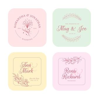 Monogrammi di matrimonio minimalista in colori pastello