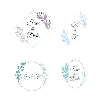 Monogrammi di matrimonio minimalista in set di colori pastello