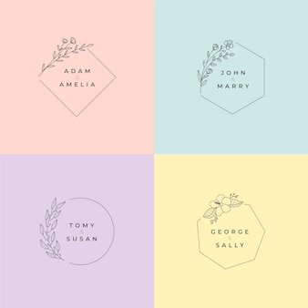 Monogrammi di matrimonio minimalista nel pacchetto di colori pastello
