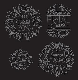Monogrammi di vendita neri