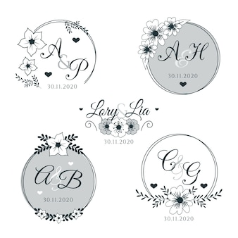 Monogrammi floreali per matrimoni