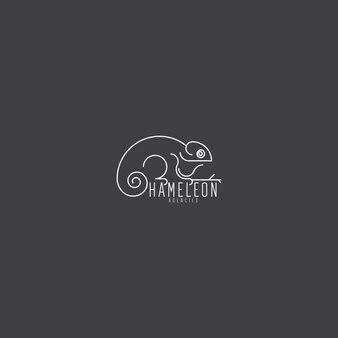 Monoline elegante e unico logo artistico camaleonte