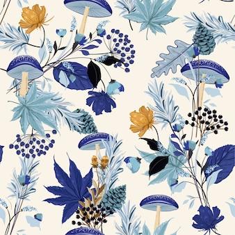Monotono su tonalità blu autunno giardino seamless pattern