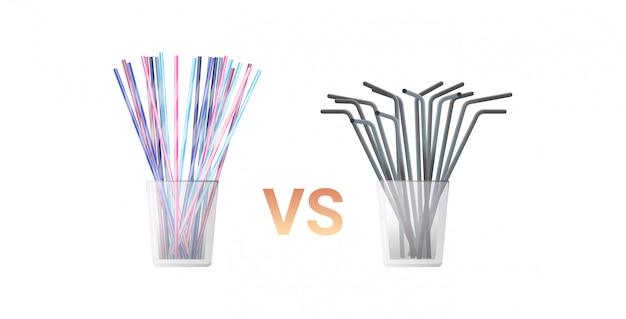 Monouso di plastica bevente variopinto contro le paglie del metallo nell'illustrazione orizzontale piana del fondo bianco di concetto zero dei rifiuti di vetro