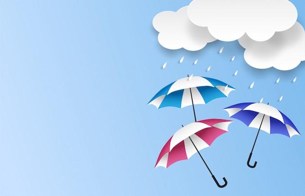 Monsone, fondo di vendita di stagione delle piogge. nuvola pioggia e ombrello su cielo blu.
