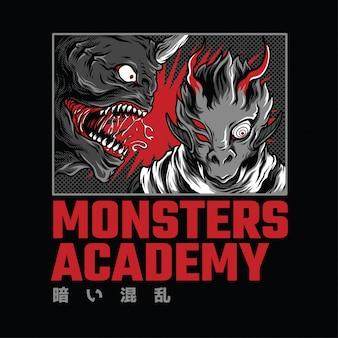 Monster academy illustrazione al neon