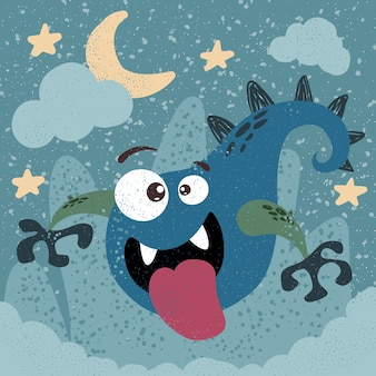 Monster, boo - halloween illusttration. idea per t-shirt stampata.
