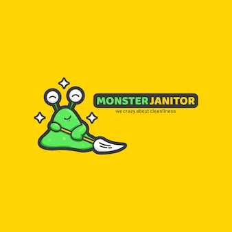 Monster slime janitor cleaning service mascot character logo