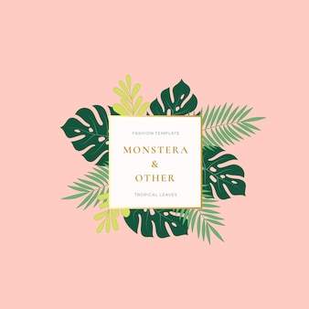 Monstera palm tropical leaves fashion sign, emblem