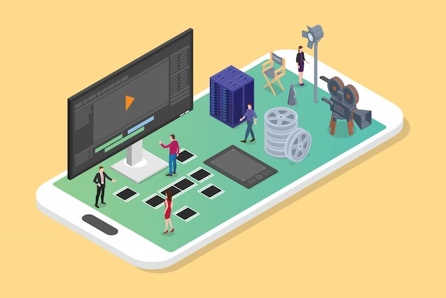 Montaggio e produzione di video mobile su smartphone con varie serie di produzioni cinematografiche