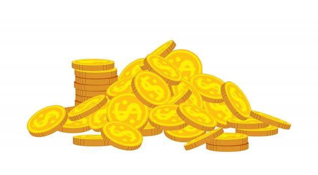 Montagna del fumetto delle monete di oro. mucchio dorato del mucchio delle monete, segno brillante di valuta della banca. impila soldi