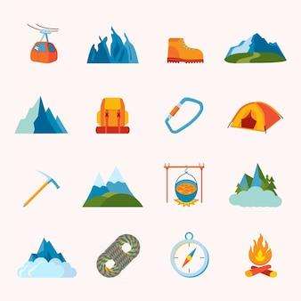 Montagna escursionismo arrampicata attrezzatura sciistica icone set flat isolato illustrazione vettoriale