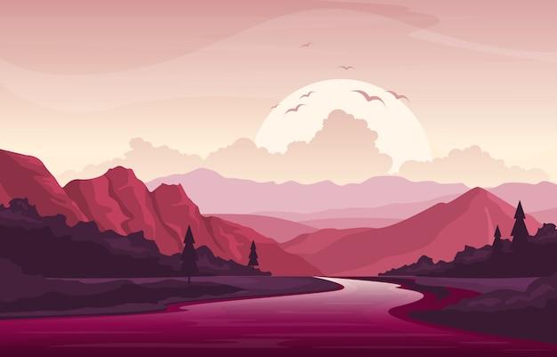 Montagna forest rural landscape illustration di tramonto di pomeriggio di alba di mattina di fiume