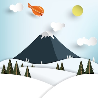 Montagna in inverno in stile arte carta