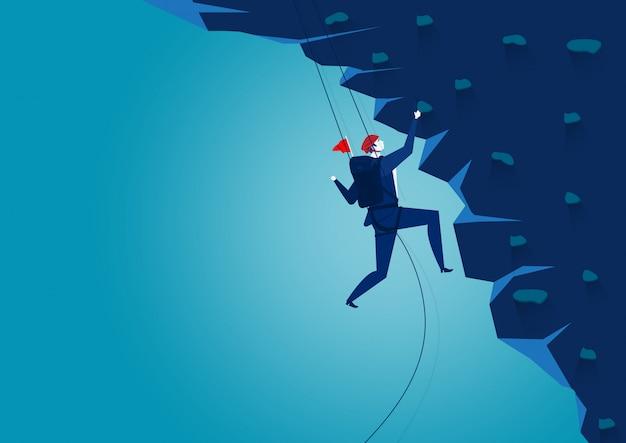 Montagna rampicante dell'uomo d'affari. sfida, illustratore di vettore di concetto.