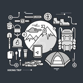 Montagne con cime innevate e attrezzatura turistica