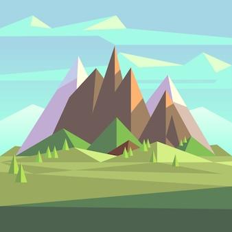 Montagne di roccia neve paesaggio in stile basso poli. paesaggio con neve montagna, natura poligono