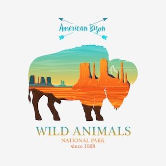 Montagne e bufali, silhouette animali selvatici. esposizione multipla o doppia.