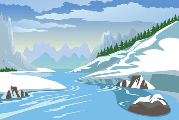 Montagne e fiume in inverno