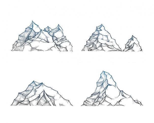 Montagne incastonate su bianco