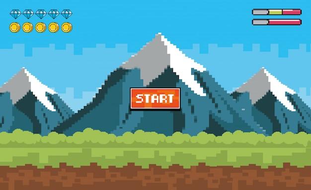 Montagne innevate con pixel e barre di monete