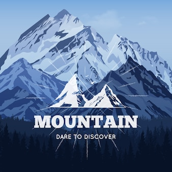 Montagne sullo sfondo invernale