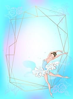 Montatura in oro con una ballerina contro uno sfondo blu.