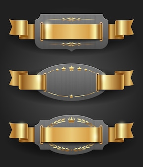 Montature in metallo ornato con decorazioni e nastri dorati