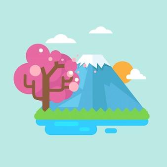 Monte fuji con fiori di ciliegio