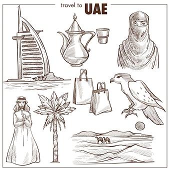 Monumenti di schizzo di viaggio emirati arabi uniti
