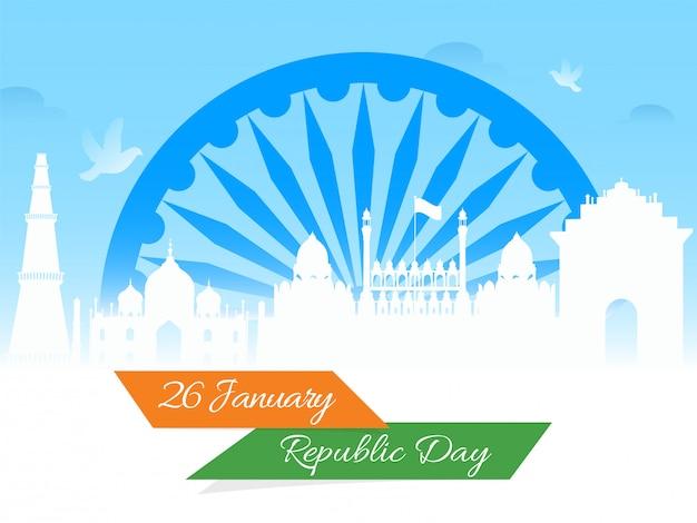 Monumenti famosi indiani con l'illustrazione della ruota di ashoka su bianco per il 26 gennaio, celebrazione di festa della repubblica.