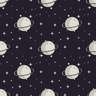 Moom e motivo a stelle disegnati a mano d'annata. spazio senza soluzione di tessitura.