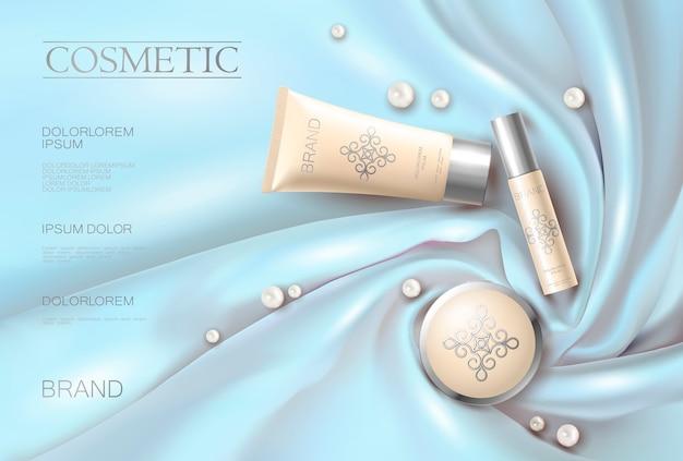 Morbido 3d realistica annuncio cosmetico tessuto di seta incandescente blu beige