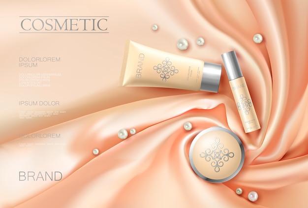 Morbido annuncio cosmetico realistico 3d il tessuto luminoso in seta è aumentato