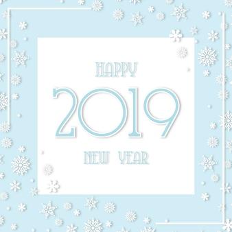 Morbido sfondo bianco e blu felice anno nuovo 2019 con fiocchi di neve
