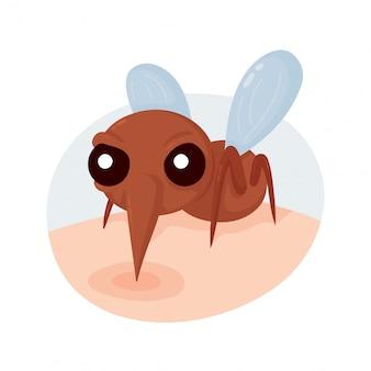 Morso di zanzara spaventoso arrabbiato sulla pelle.