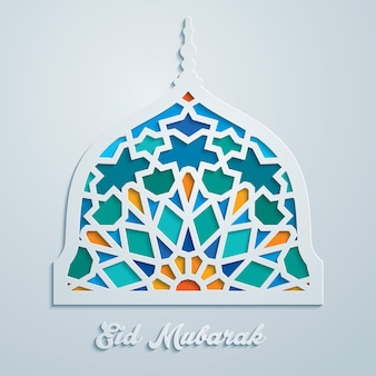 Mosaico colorato cupola della moschea eid mubarak
