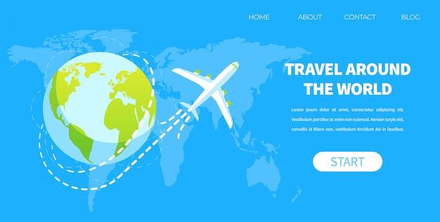Mosca dell'aeroplano intorno al concetto di vettore del globo della terra