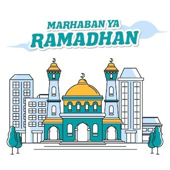 Moschea banner marhaban ya ramadhan