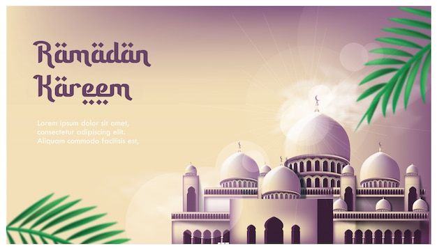 Moschea banner ramadan kareem sfondo