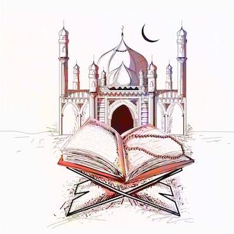 Moschea colorata con libro sacro di quran per i festeggiamenti della comunità musulmana festeggiamenti.