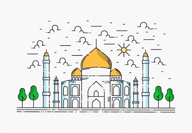 Moschea dal design semplice, ramadhan kareem