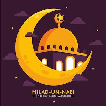 Moschea della cartolina d'auguri di milad-un-nabi nel cielo