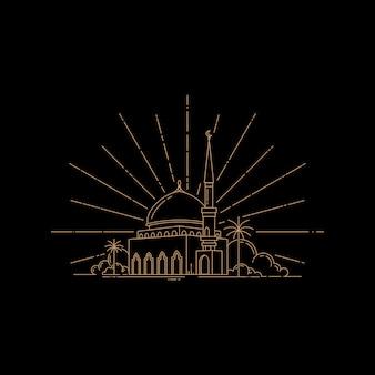 Moschea design modello vettoriale linea arte stile