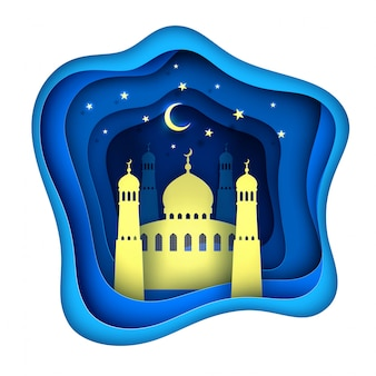 Moschea di ramadan kareem decorazione taglio carta vettoriale