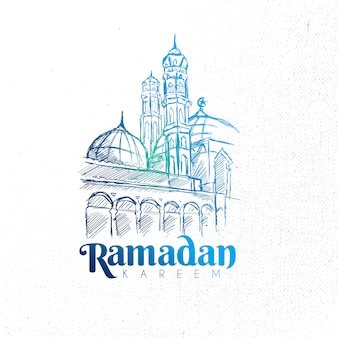 Moschea di ramadan kareem disegnata a mano